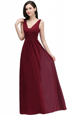ALEXA | Gaine col en v en mousseline bordeaux longues robes de soirée_6