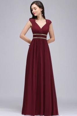 ALISON | Mantel V-Ausschnitt Burgund Chiffon lange Abendkleider mit Perlen_12