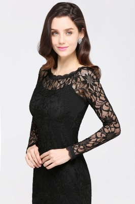 Sexy Black Lace Long Sleeves Mermaid Prom Dresses_15