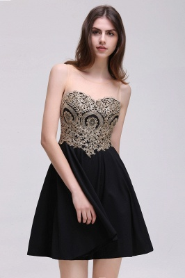 CAITLIN | A-line Short Chiffon Black Homecoming Dresses with Appliques_9