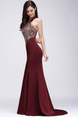 EILEEN | Mermaid Scalloped Floor-length Appliques Burgundy Prom Dresses with Beadings_4