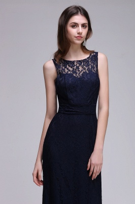 CHARLEY | Sheath Illusion Floor length Elegant Navy Blue Prom Dress_5
