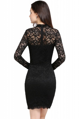 ARYANNA | Sheath High Neck Short Black Lace Cocktail Dresses_2