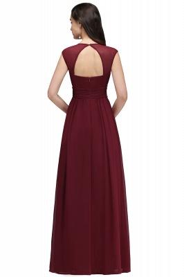 ALISON | Mantel V-Ausschnitt Burgund Chiffon lange Abendkleider mit Perlen_11