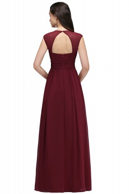 ALISON | Sheath V Neck Burgundy Chiffon Long Evening Dresses With Beads_9