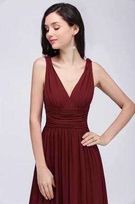 COLLINS | V-Neck A-line Floor-length Burgundy Chiffon Evening Dresses_9
