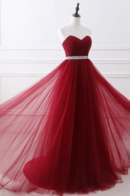 ANGELINA | A-line Sweetheart Burgundy Tulle Prom Dress With Beading_11