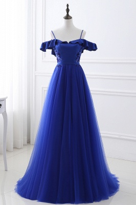 Stunning Off the shoulder blue Tulle ball gown prom dresses_1