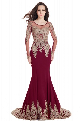 Crystal   Sexy Mermaid Lace Appliques Long Sleeves Prom Dresses with Beadings_3