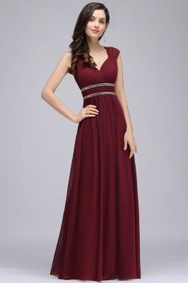 ALISON | Gaine col v en mousseline de soie bordeaux longues robes de soirée avec des perles_2