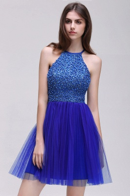 CAITLYN | A-line Halter Neck Short Tulle Royal Blue Homecoming Dresses с бисером_4