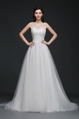 BAILEE | A-line Scoop Tulle Elegant Wedding Dress With Lace_3