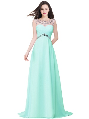AINSLEY | A-line Sweetheart Chiffon Evening Dress With  Crystal_4
