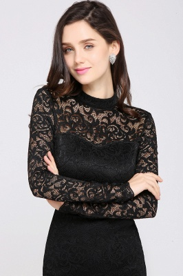 ARYANNA | Sheath High Neck Short Black Lace Cocktail Dresses_6