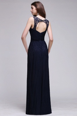 CHARLEY | Sheath Illusion Floor length Elegant Navy Blue Prom Dress_3