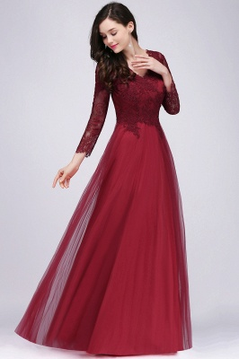DYLAN | A-line V-neck Long Sleeves Lace Tulle Backless Prom Dresses_9