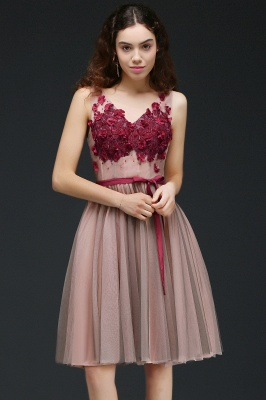 CORALINE |Princess V-neck Knee-length Tulle Homecoming Dress with a Self-tie Belt_5