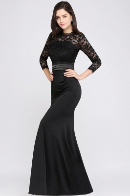 Lace Sleeves Mermaid High Neck Elegant Zipper Back Evening Dress