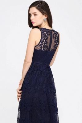 CHAYA | Sheath V-neck Floor-length Lace Navy Blue Prom Dress_12