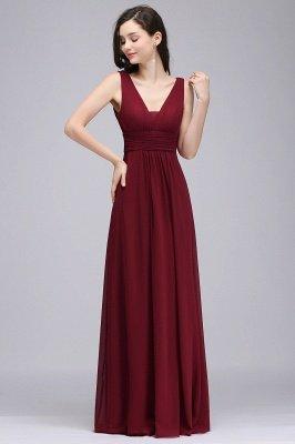 ALEXA | Gaine col en v en mousseline bordeaux longues robes de soirée_1