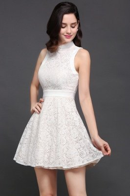 CHLOE | Princess High neck Knee-length White Cute Homecoming Dress_2