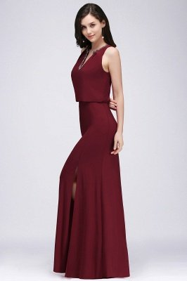 EDITH | A-line V-neck Floor-length Sleeveless Burgundy Prom Dresses with Crystal_4