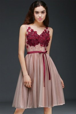 CORALINE |Princess V-neck Knee-length Tulle Homecoming Dress with a Self-tie Belt_4