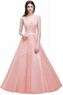 V-Ausschnitt A-Linie Bodenlanges Tüll Brautjungfernkleid | Brautjungfer Kleid Mit Applikationen_3