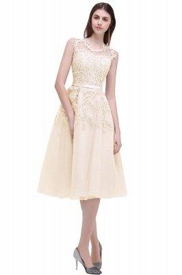 ЭМИРА | A-Line Crew Tea Length Кружева Appliques Короткие платья выпускного вечера_5