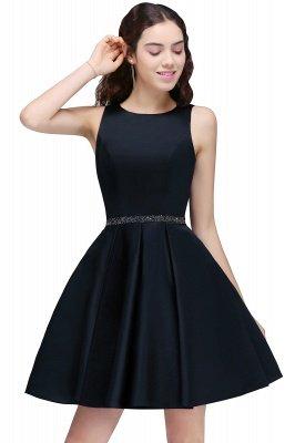 BRIANNA | A-Line cuello redondo corto Dark Navy vestidos de fiesta con cristal_1