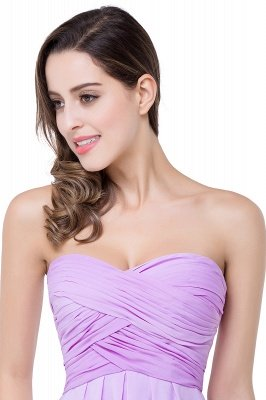 ADLEY | A-line Strapless Chiffon Bridesmaid Dress with Draped_7