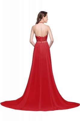ADELE | A-line Halter Chiffon Evening Dress with Lace_2