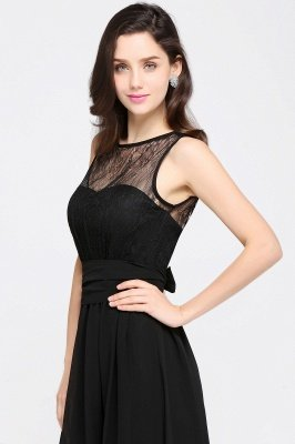 Jewel Lace Keyhole Gaine-parole longueur noire en mousseline de soie Sexy robe de soirée_15