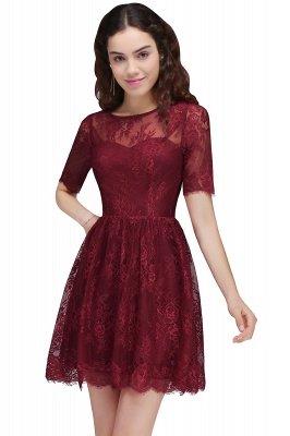 BRITTANY | A linha de vestidos de baile em volta do pescoço curto Lace Borgonha_6