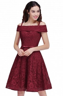 BRISTOL | A-Line Spaghetti Straps Short Lace Burgundy Homecoming Dresses_4