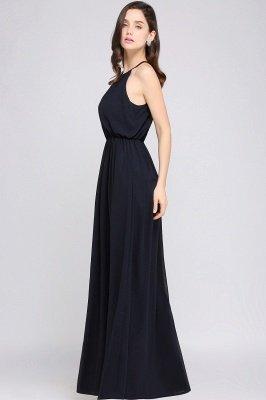 CHEYENNE | Una línea de piso de longitud gasa azul marino simple vestido de fiesta_11