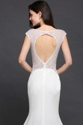 AYLEEN | Mermaid Scoop White Chiffon Evening Dress With Beadings_7