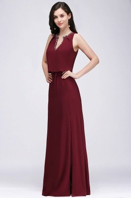EDITH | A-line V-neck Floor-length Sleeveless Burgundy Prom Dresses with Crystal_1