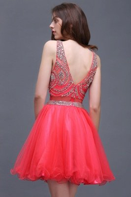 BIANCA   Puffy Straps Short Tulle Homecoming Dresses With Crystal_7