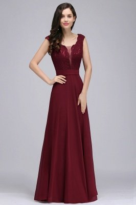 CORINNE | A-Linie bodenlange Spitze Burgund elegantes Abendkleid_2