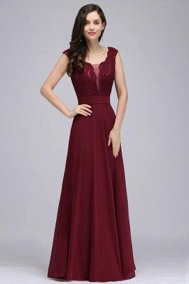 CORINNE | A-line Floor-length Lace Burgundy Elegant Prom Dress_1