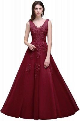 V-Ausschnitt A-Linie Bodenlanges Tüll Brautjungfernkleid | Brautjungfer Kleid Mit Applikationen_6