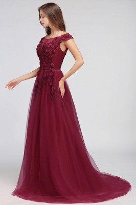 EMBER | A-line Off-shoulder Floor-length Tulle Appliques Prom Dresses_9