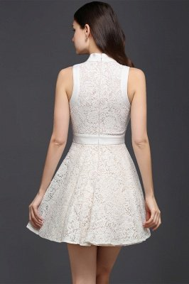 CHLOE | Princess High neck Knee-length White Cute Homecoming Dress_3