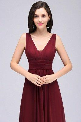 ALEXA | Sheath V Neck Burgundy Chiffon Long Evening Dresses_5