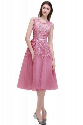 ЭМИРА | A-Line Crew Tea Length Кружева Appliques Короткие платья выпускного вечера_1
