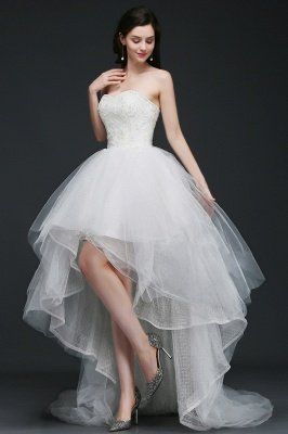 ANNE | A-line Hi-Lo Tulle Wedding Dress With Lace_4