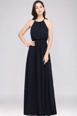 CHEYENNE | A-line Floor-length Chiffon Navy Blue Simple Prom Dress_8