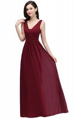 ALEXA | Sheath V Neck Burgundy Chiffon Long Evening Dresses_6