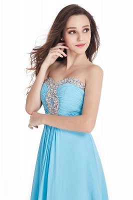 Long Chiffon Crystals Strapless Sweetheart Prom Dresses